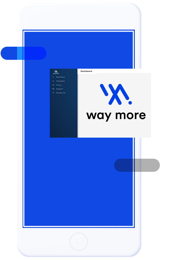Image of a smartphone using the WayMore marketing automation platform
